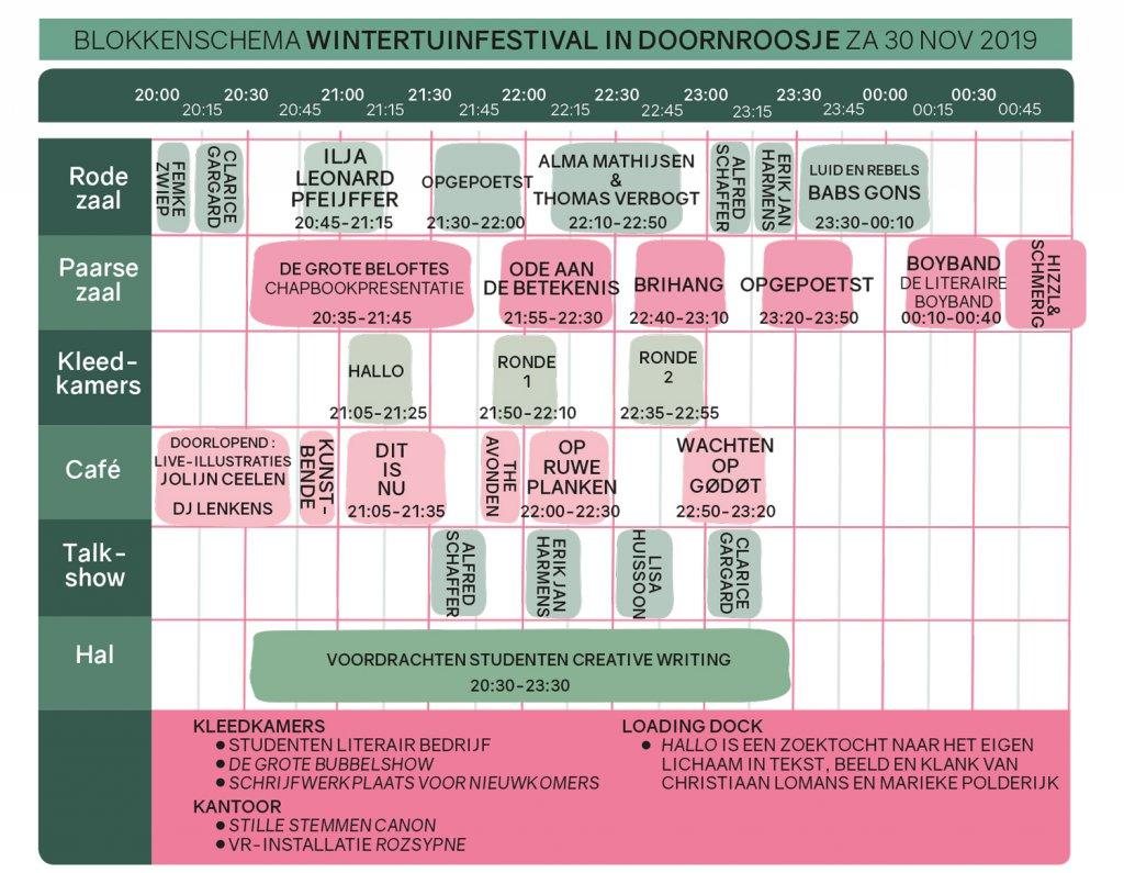 Blokkenschema Wintertuinfestival in Doornroosje